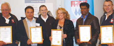 The Johannesburg branch was awarded branch of the year for 2011. Seen accepting their certificates (l to r) Eric Carter, Alvin Seitz, Johan Maartens, Debbie Scott, Andrew Bharath and Jay King.
