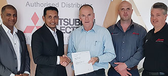 Left to right: Chetan Goshalia (SqwidNet), Reshaad Sha (SqwidNet), Dave Wibberley (managing director Adroit Technologies), Johan Nieuwenhuizen (business development director Adroit Technologies) and Grant Joyce (marketing manager Adroit Technologies).
