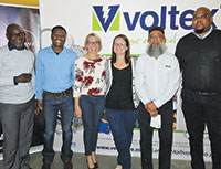 Senior management congratulates staff from Voltex MV/LV Solutions.