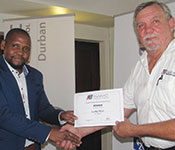 Lucky Ntuli, MUT, winner of the Student Award Scheme for the 2nd Semester seen accepting his award from chairman Hennie Prinsloo. For more information about Lucky's project please go to: <a href=&quot;https://instrumentation.co.za/papers/J4343.pdf&quot; target=&quot;_blank&quot;>https://instrumentation.co.za/papers/J4343.pdf</a>