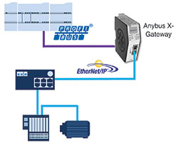 Gateway linking Ethernet/IP I/O devices to an existing Profibus PLC.